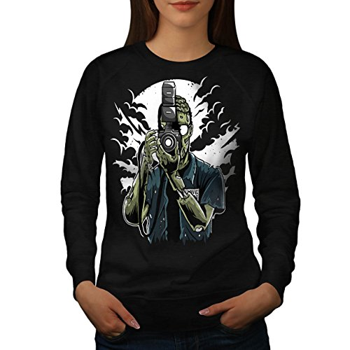 Tot Fotograf Zombie Damen M Sweatshirt | Wellcoda (Thriller Zombie Kostüm)