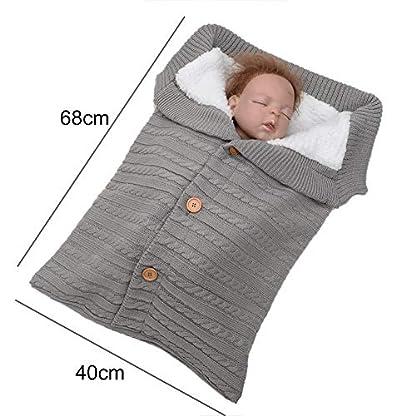 ouken Botón 1PC bebé recién Nacido Manta para Dormir Bolsa de empañar paño Grueso y Suave Grueso del Cochecito de Tejido Suave Manta Caliente Mantas para niños pequeños para niños y niñas (Gris)