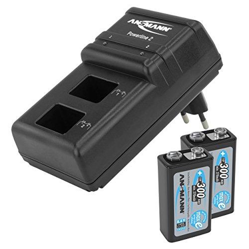 ANSMANN Chargeur Powerline 2 / Chargeur enfichable puissant pour deux accus 9V / charge rapide avec surveillance de chaque plot de charge, protection contre la surcharge et affichage LED / livré avec 2 accus 300mAh