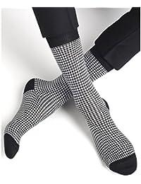 BLEUFORÊT - Chaussettes fil d'Écosse Pied-de-poule - Noir/Blanc, 39/42
