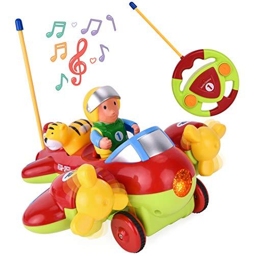 ROOYA BABY Ferngesteuertes Flugzeug Spielzeug, Cartoon RC Auto Spielzeug mit Licht Sound Propellern, Flug Spielzeug mit Fernbedienung für Kleinkinder Kinder Kindergeschenk