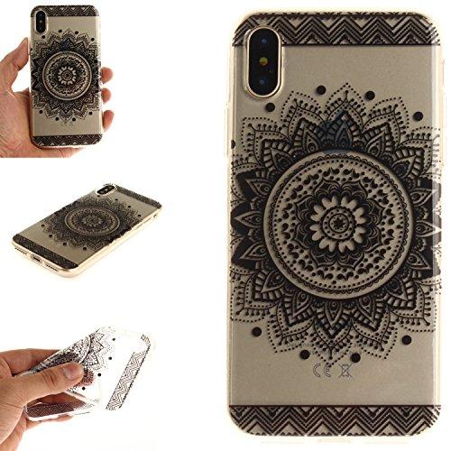 Per iPhone X,Sunrive® Custodia Cover Case in molle Trasparente Ultra Sottile TPU silicone Morbida Flessibile Pelle Antigraffio protettiva(grandi fiori bianchi) nero Mandala