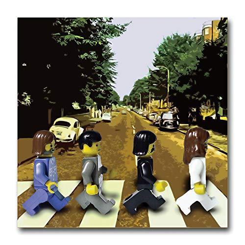 LEGO The Beatles Abbey Road Kunstdruck auf Leinwand. Vintage Cool Pop Music Geschenk