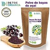 Bayas De Acai En Polvo Orgánico 100 g - Bayas Acai Congelado BIO (Freeze - Dried/Liofilizadas) - Acai Berry Extracto Crudo De La Pulpa - Acai Organico Cultivado en Brasil De Detox Organica