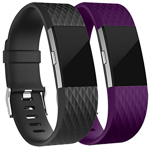 Fitbit Charge 2 Armband, HUMENN Charge 2 Bänder 3D Stil Weiches Silikon Sports Ersetzerband Fitness Verstellbares Uhrenarmband für Fitbit Charge2 Large Schwarz+Pflaume