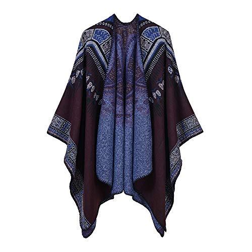 QUROENS Frauen Floral Jacquard Poncho Schal Strickjacke Kontrast Vintage Farbe vorne offen Elegant Cape Wrap Sweater Coatschwarz