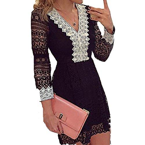 Damen Herbst Art Und Weise Elegant Langärmeligen Kleid Spitze V-Ausschnitt Schwarz Und Weiß Sogar Miniröcke (L, Schwarz) (Hippie-boho-schlinge)