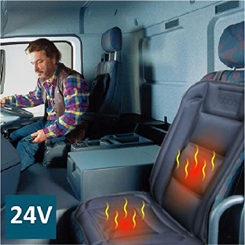 ObboMed SH-4164N 24V Beheizbare Sitzauflage Sitzkissen mit Rückenstützung und extra sichere Befestigung, DELUXE Model mit Premium Zigarettenanzünderstecker für LKW, Bus und Boot; Schwarz
