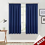 PONY DANCE Nursery Blackout Curtains - Room Darkening Curtain Panels for Boy's Bedroom Thermal Insulated Super Soft Short Blinds for Home Decoration, W 46 by L 54 Inch, Navy Blue, Set of 2