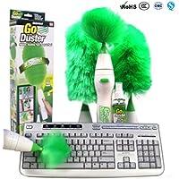 Sallypan Multifuncional Eléctrico Giratorio Duster Set Cepillo de limpieza motorizado Plumeros de plumas verdes para el teclado de los muebles de las persianas