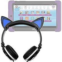 DURAGADGET Auriculares plegables estéreo con diseño de orejas de gato en color negro para Cefatronic - Tablet Clan Motion Pro