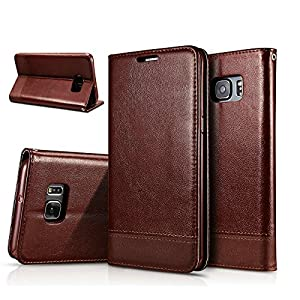 Excelsior Premium Leather Wallet Flip Cover Case For Samsung Galaxy S7 Edge (Brown)