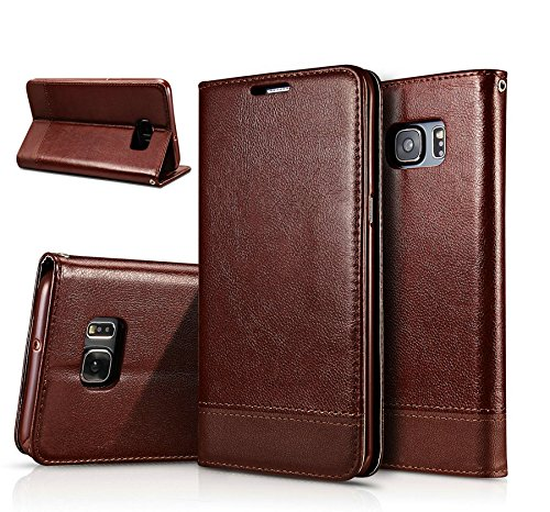 Excelsior Premium Leather Wallet Flip Cover Case For Samsung Galaxy S7 Edge - Brown