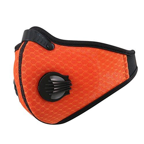Clispeed Maschera antipolvere, maschera antipolvere a carboni attivi con velcro anti PM 2.5, maschera antivento antivento per la pulizia delle attività all'aperto ske (arancione)