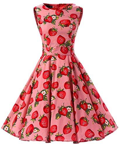 Eudolah Robe patineuse babydoll à motif fleurs robe classique vintage style des années 50 Hepburn soirée festival Rose Fraise-Y