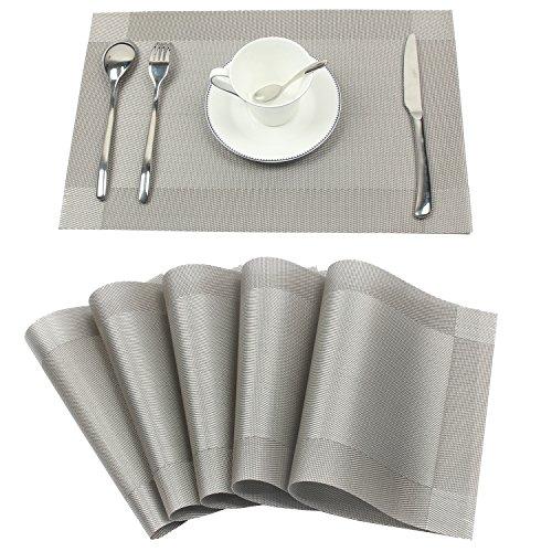 Borlans sets de table lavables PVC Napperons pour dîner antidérapant résiste à la chaleur et fait en vinyle Lot de 6