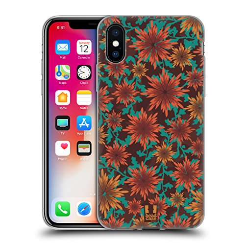 Head Case Designs Zimt Pflanzenornamente Soft Gel Hülle für Apple iPhone X (Zimt-gelee)