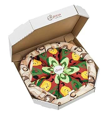 Pizza Socks Box - Pizza Végétarienne - 4 paires de Chaussettes FANTAISIE Uniques et Originales - CADEAU Drôle en COTON!|Tailles UE: 36-40|fabriqué dans l'UE