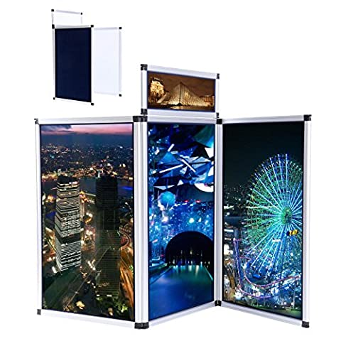Ridgeyard 3 Panels Folding Display Exhibition Boards Tabletop Stand Header Aluminum Alloy Frame with Carry