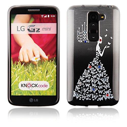 handy-point Glitzer Lady schattierte Silikonhülle mit Schmetterlingen und Straßsteinchen Gummi Silikon Hülle Handyschale Handyhülle Schutz Schutzhülle Gummihülle für LG G2 Mini, Schwarz