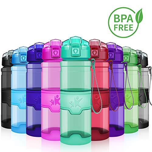 KollyKolla Sport Trinkflasche BPA-frei Auslaufsicher Wasserflasche, 500ml Tritan Sportflasche Kunststoff mit Filter für Kinder, Schule, Mädchen, Wasser, Fahrrad, Gym, Yoga, Camping, Glossy Smaragd