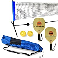 Driveway Games Portable Outdoor Pickleball Set. 2 Wood Racket Paddles, 2 Pickelballs, Bag and Net System Equipment