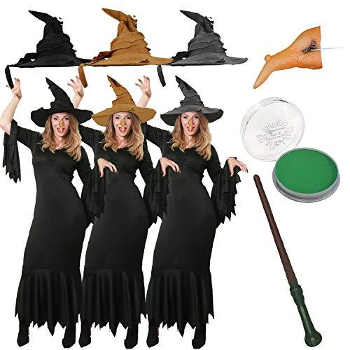 Zauberstab Hexe Kostüm - ILOVEFANCYDRESS HEXEN ZAUBERIN KOSTÜME VERKLEIDUNG Kleid+Hut+Nase+SCHMINKE+Kleid+ZAUBERSTAB=Fasching Karneval MAGISCH=SCHWARZER Hut-Kleid/XXXLarge