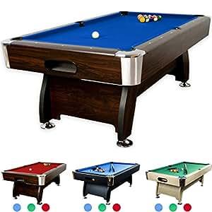 """Maxstore 8 ft Billardtisch Premium"""" + Zubehör, 9 Farbvarianten, 244x132x82 cm (LxBxH), dunkles Holzdekor, blaues Tuch"""