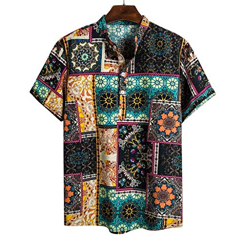 ODRD Herren Ethnic Hawaiian T Shirts, Oversize Shortsleeve Cotton Linen Vintage Jugend T-Shirt Blouse Tops V-Neck Basic V-Ausschnitt Shirt - Boys Hawaiian Shirt