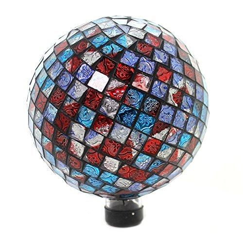 Gazing Ball (Home & Garden Rot Blau-schimmernden Glanz Gazing Ball Glas Yard Dekoration Sommer 65809)