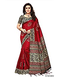 Fabwomen Sarees Kalamkari Red And Multi Coloured Kashmiri Silk With Tessels Traditional Party Wear Women's Saree...