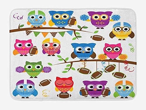 NasNew Owls Bath Mat, Sporty Owls Cheerleader League Team Coach Football Themed Animals Cartoon Art Style, Plush Bathroom Decor Mat with Non Slip Backing, 31.69 X 19.88 Inches, Multicolor