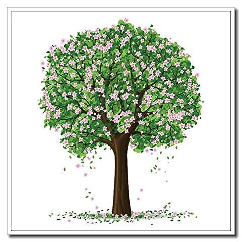 Haehne Modern Arbre fleur verte Toiles en coton Impression Oeuvres Peintures à l'huile Photo Imprimé sur toile Art mural pour les décorations maison à la chamber, 40 *40cm(16* 16Inch)), Avec cadre