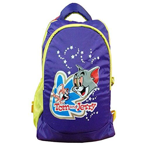 RoseBud Tom and Jerry Cartoon Print Purple Color (10-15 Lt/16 Inch/2-5 years) 4 Compartments Back and Shoulder Strap padding Polyester Backpack Bag for Nursery and Junior School Girls, Boys, Kids, Children Students (Doraemon, Chota Bheem, Ben 10, Ben10, Barbie, Motu Patlu, Cinderella Princess, Sponge Bob, Honey Bunny, Subway Surfers, Micky Mouse, Bugs Bunny, Tweety, Goofy, Tom, Jerry, Donald duck, Snow White etc)  available at amazon for Rs.420