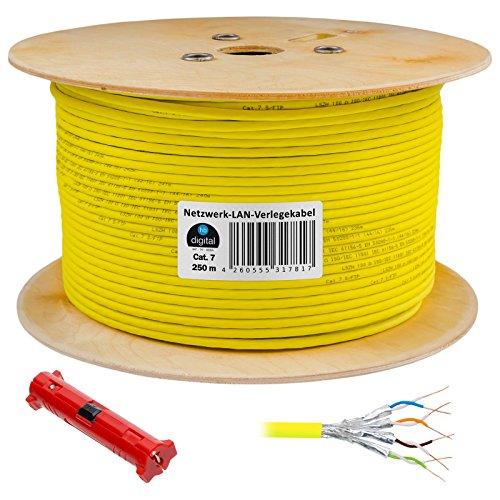 250m cat 7 HB Digital Basic Netzwerkkabel ✚ Abisolierer ■■■ LAN Verlegekabel Cabel Kupfer Profi S/FTP PIMF LSZH Halogenfrei gelb RoHS-Compliant cat. 7 (Voice-over-internet-modem)