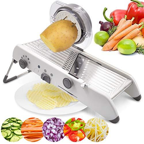 18 tipos de cortador de mandolina ajustable de acero inoxidable cortador manual de verduras rallador juliana rebanador de frutas waffle blanco