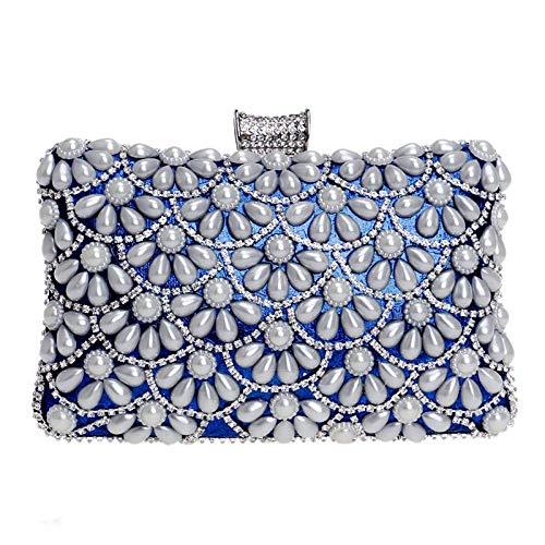 Sky-Grow Weich Damen Clutch Bag Pearl Diamond Flower Dress Abendtasche Hochzeit Handtasche Party Prom Handtaschen Handtasche (Farbe : Blau, Größe : 20 * 6 * 12cm)