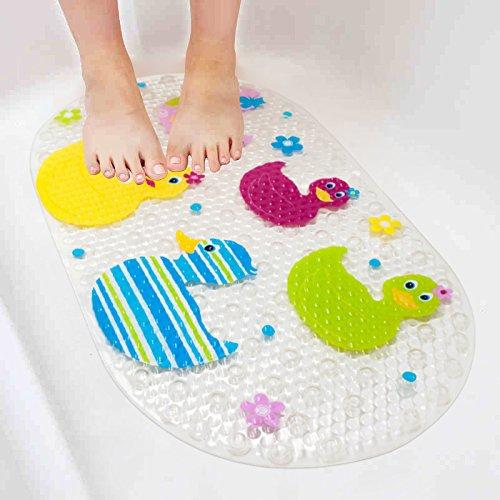 Rutschfeste Wanneneinlage BliGli Anti-Rutsch Badewannenmatten PVC Karikatur Entwurf Massage Dusche Badematte mit Saugnäpfen für Baby Kinder (Ducks)
