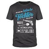 FABTEE - Ich habe eine hübsche Tochter - Herren Organic Cotton T-Shirt Größen S-4XL, Größe:XL, Farbe:Anthrazit