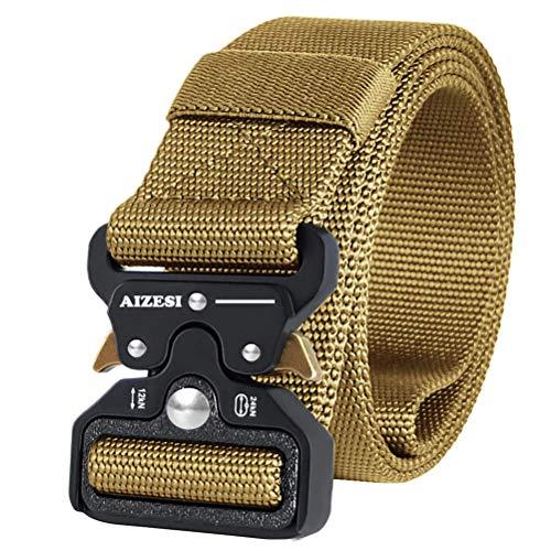 AIZESI Nylon Gürtel Military Tactical Belt Beutegürtel Herren Militär Taktische Gürtel Khaki Nylon Gürtel Outdoor Sportart Verstellbare Gurtband