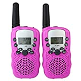 Vine 2pcs Mini Walkie Talkie für Kinder Amateur T-388 5km UHF Kinder Tow-Way Radio Rosa