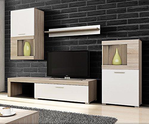 Wohnwand / Wohnzimmer Set FLAVO mit TV Lowboard, Hängevitrine, Sideboard, Wandregal (4-teilig, Weiß / Sonoma Eiche, mit / ohne LED)