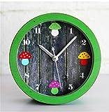pengweiNiedliche Dschungel Pilz Vintage kreativen Gartentisch Holz Wecker am Bett Uhr Cartoon Uhr , old green wood
