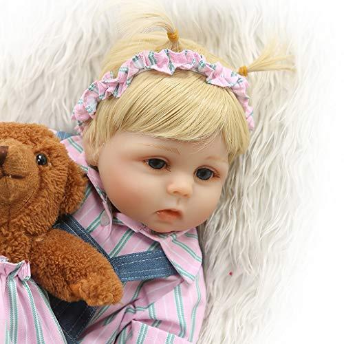 Mmnas 48 cm Babypuppe,Entzückende Silikon Neugeborenen Reborn Puppe Lebensechte Mädchen Puppen Kleinkind Geschenke Denim Nippel Flasche Frühen Kindheit Kinder Spielzeug