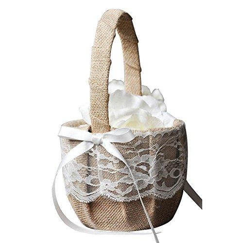 Romote Handwerk Korb Romantische Jute Spitze Bogen Korb Hochzeit Blumenmädchen Korb Für Hochzeit Dekoration Lieferungen 1 Satz