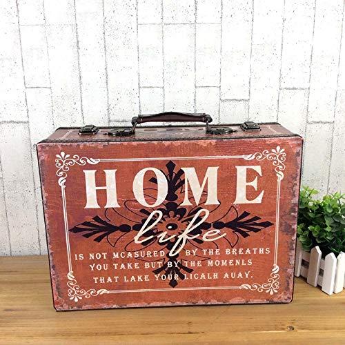 Ser ityhtr decorazione antique bagagli-retro valigia scatola di legno puntelli scatola di antiquariato bagaglio vecchio ornamento decorazione vetrina f-home piccola piccola: 35x25x11cm