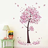 Pink butterfly flowers Tree Wall Art Decal Sticker Mural Removable Decoration for Living Room Nursery Decor Baby Girl Kid Children Women Room Bedroom (C) - Keersi - amazon.co.uk