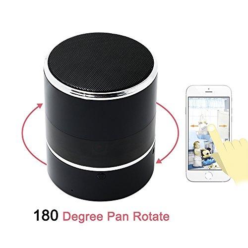 Spy Cam, HD Mini Telecamera Nascosta Spia WIFI Bluetooth Speaker TANGMI Microcamera Nanny 1080P 180° Pan Rotation Obiettivo della Fotocamera Sorveglianza di Sicurezza Domestica - 4
