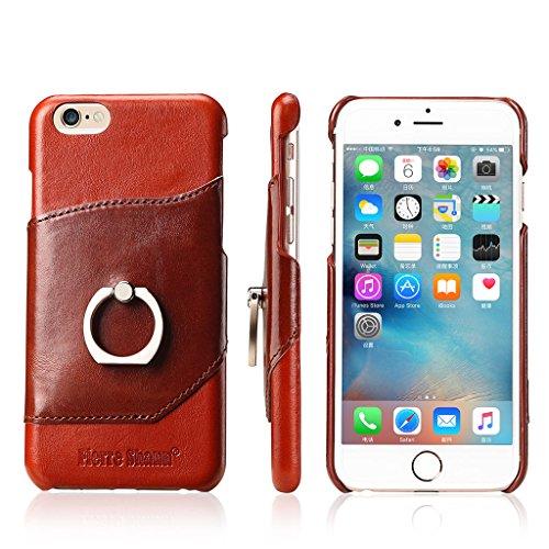Ultra Mince Véritable Étui en Cuir pour iPhone 6S Plus/6 Plus, Careynoce Luxe Coque en Cuir Fait Main pour Apple iPhone 6S Plus iPhone 6 Plus (5.5 pouces) -- Motif Ambré M04