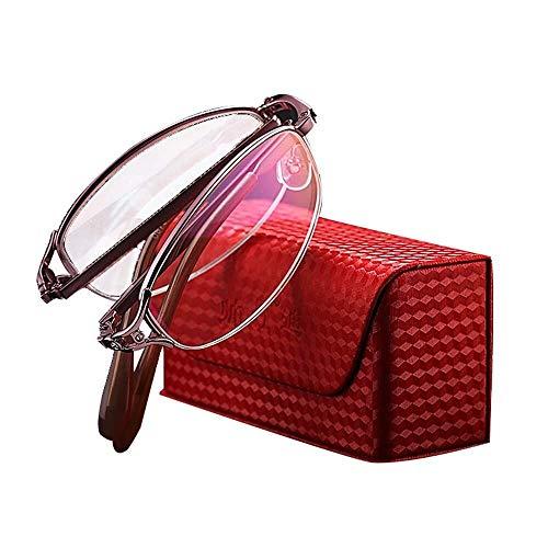YDS SHOP Brille Damen Pink Half Frame Folding Reading, verschleißfeste Kratzfeste Resin Lens Anti-Fatigue-Brille Metall-Federscharnier, geeignet for ältere Menschen Presbyopie (Size : +4.0)